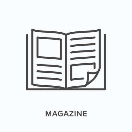 Magazine flat line icon. Vector outline illustration of news brochure, catalog page. Latest press thin linear pictogram Stock fotó - 155422249