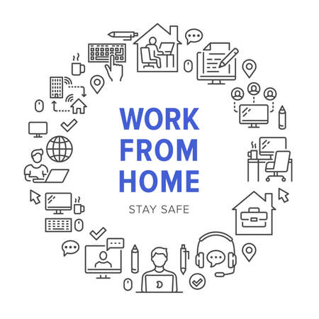Work from home circle frame poster with line icons. Vector illustration included icon as freelance worker with laptop, workplace, pc monitor, business man outline pictogram for remote job brochure