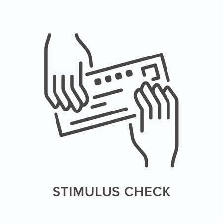Hands giving bank check flat line icon. Vector outline illustration of payment, voucher. Stimulus cheque thin linear pictogram