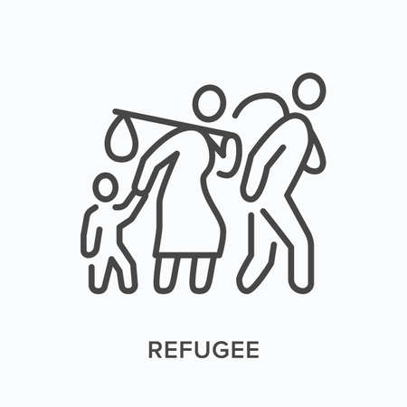 Refugee flat line icon. Vector outline illustration of displaced people walking with luggage, man woman and child. Immigrants thin linear pictogram Vecteurs