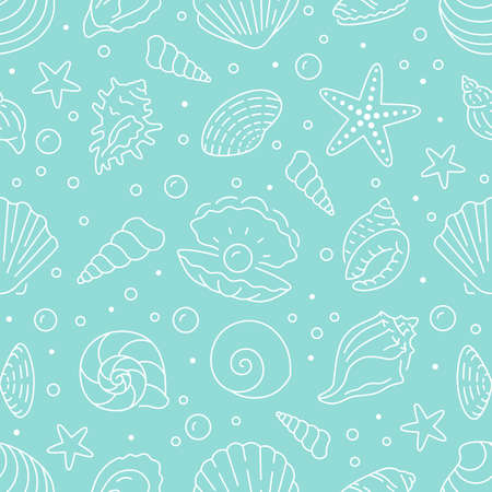 Seashell seamless pattern. Vector background included line icons as ocean sea shells, scallop, starfish, clam, oyster, nautical texture for fabric. White, blue color Illusztráció