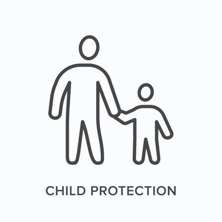 Parent with child flat line icon. Vector outline illustration of father and kid holding hands, family bonding. Children protection thin linear pictogram Vektorgrafik