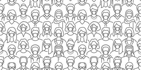 Crowd of people in face masks vector seamless pattern. Coronavirus prevention background with diverse men, woman line icons safety medical respirator, virus protection. Black white color illustration Иллюстрация