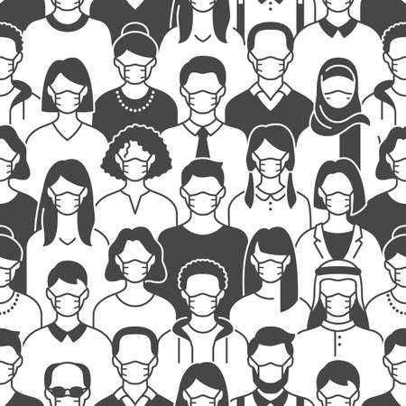 Crowd of people in face masks seamless pattern. Coronavirus prevention background with diverse men, woman line icons medical respirators, virus protection. Black white color vector illustration
