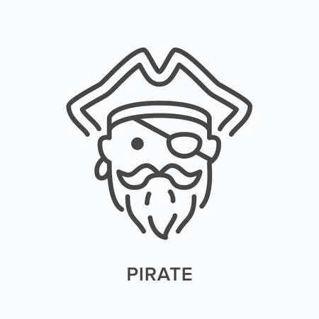 Pirate head flat line icon. Vector outline illustration of ship captain in hat with eye patch, mustache and beard. Sailor thin linear pictogram Ilustração