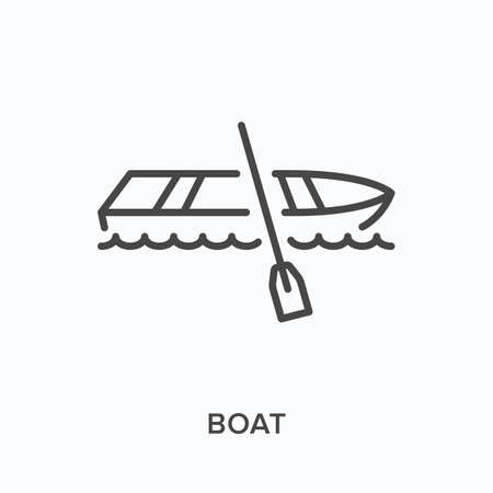 Boat flat line icon. Vector outline illustration of fishing rowboat, water transportation. Wooden dingy with paddle thin linear pictogram
