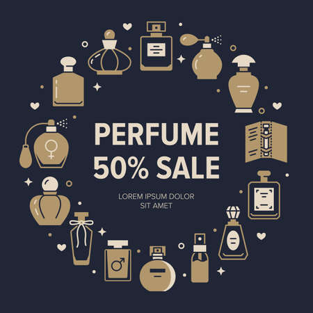 Perfume bottles frame poster with silhouette icons. Vector illustration - glass sprayer, luxury parfum sampler, essential oil, cologne glyph pictogram for cosmetic store flyer, sale brochure