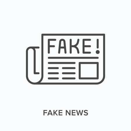 Fake news flat line icon. Vector outline illustration of rumor newspaper. Media misinformation thin linear pictogram