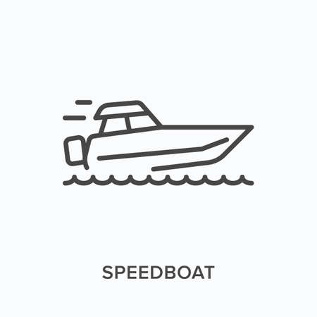 Speedboat flat line icon. Vector outline illustration of speed boat, water transportation. Motorboat thin linear pictogram