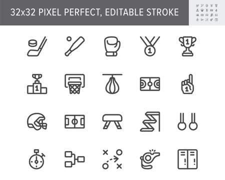 Sport competition simple line icons. Vector illustration with minimal icon - baseball and football field, cup, baseball bat, ice hockey puck, box glove pictogram. 32x32 Pixel Perfect Editable Stroke