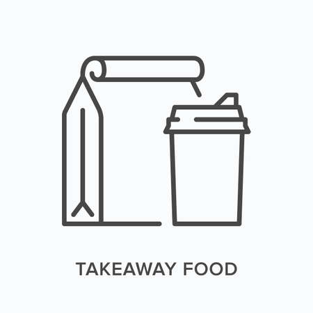 Takeaway food flat line icon. Vector outline illustration of drink cup and paper bag. Black thin linear pictogram for take out meal packaging