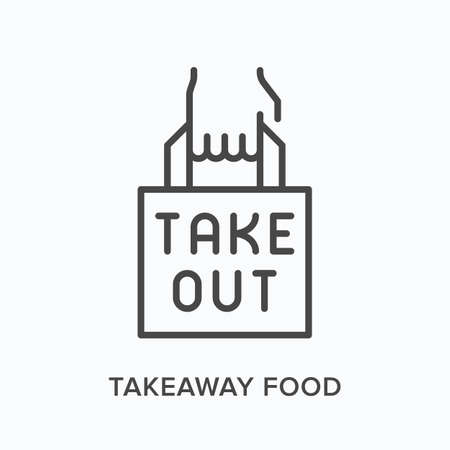 Takeaway food flat line icon. Vector outline illustration of hand and paper bag. Black thin linear pictogram for take out meal packaging