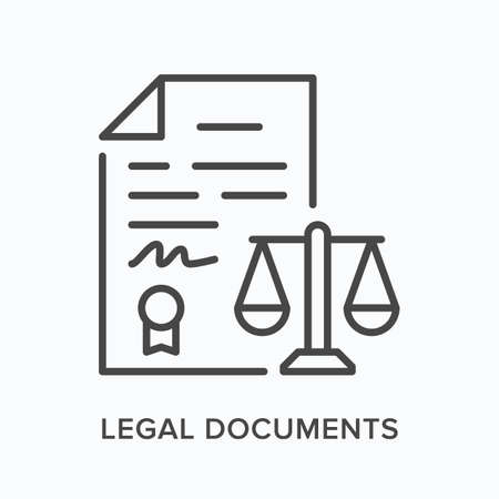 Legal document flat line icon. Vector outline illustration of agreement contract. Black thin linear pictogram for bureaucracy papers