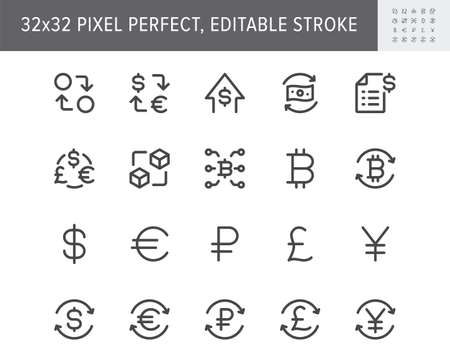 Finance currency exchange simple line icons. Vector illustration with minimal icon - euro, dollar, transfer, invoice, pound, sterling, cryptocurrency pictogram. 32x32 Pixel Perfect Editable Stroke