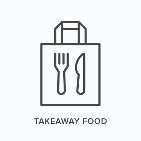 Ready food delivery line icon. Vector outline illustration of takeaway lunch service. Daily meal in papr bag with fork and knife pictorgam Vektoros illusztráció