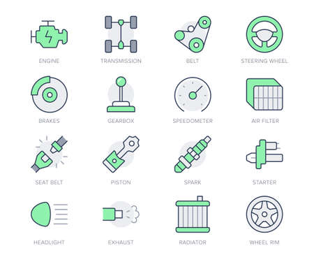Transport car parts simple line icons. Vector illustration with minimal icon - check engine, gearbox, brakes, spark, wheel rims, transmission, seat belt, exhaust. Green Color Editable Stroke