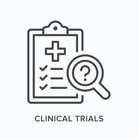 Clinical trials flat line icon. Vector outline illustration of laboratory results. Black thin linear pictogram for medical diagnostic