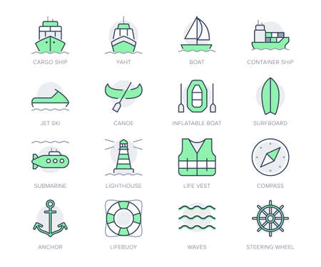 Water transport simple line icons. Vector illustration with minimal icon - cargo ship, yacht, canoe, boat, surfboard, compass, anchor, submarine, jet ski. Green Color, Editable Stroke Illustration