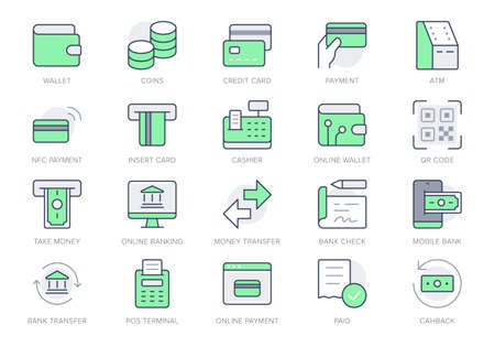 Finance operations simple line icons. Vector illustration with minimal icon - banking, credit card, contacless payment, swift, cash, atm, cashier pictogram. Green Color, Editable Stroke Vettoriali