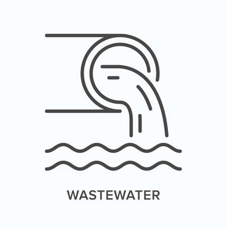 Wastewater flat line icon. Vector outline illustration of pipe and dirty water. Black thin linear pictogram for sewer tube Vecteurs