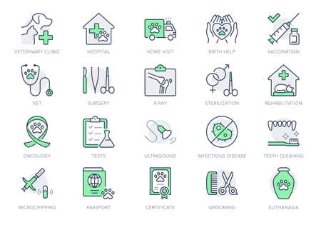 Veterinary line icons. Vector illustration include icon - stethoscope, grooming, , xray, ultrasound, vaccination, sterilization outline pictogram for vet clinic. Green Color, Editable Stroke Vetores