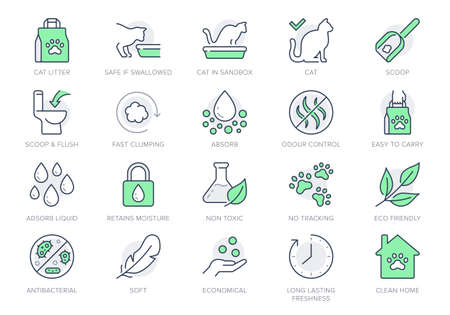 Cat litter line icons. Vector illustration include icon - sandbox, kitty tray filter, bag, biodegradable, natural outline pictogram for animal toilet absorber. Green Color, Editable Stroke