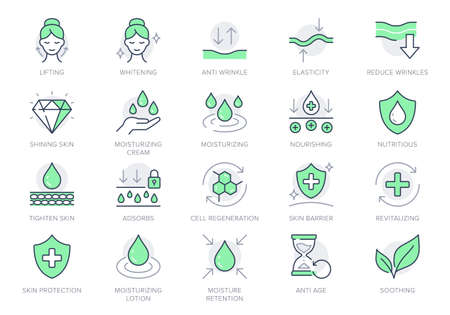 Cosmetic properties line icons. Vector illustration include icon - shield, face lifting, collagen, dermatology, serum outline pictogram for skincare product. Green Color, Editable Stroke Vecteurs