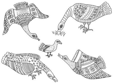 Ethnic decorative style, wild duck, ethnic Ukrainian style, ornament of Carpathian motifs stylized