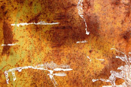 Farbe: Rusty metal barrel texture detail. Scratched paint and rust. Abstract background. Stock Photo