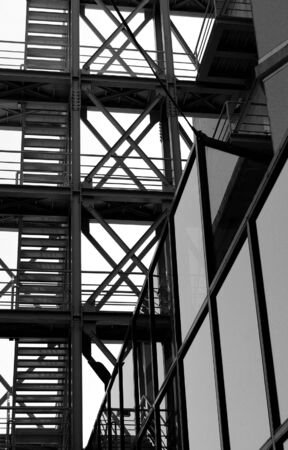 Industrial external staircase. Modern architecture perspective detail. photo