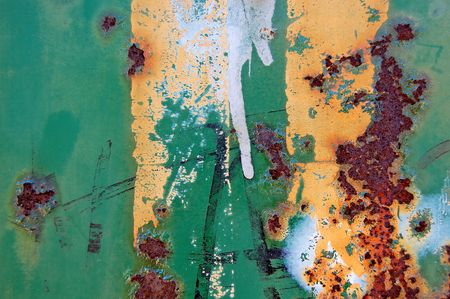 corroding: Metal surface texture background with rust and dripping paint.