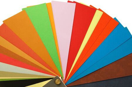 pulp: Paper samples background. Different weights and colors of printing paper. Stock Photo