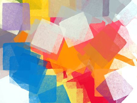 Abstract colorful squares impressionist illustration. Brush paint background pattern.