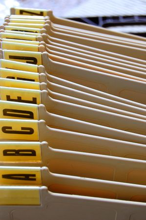 Office filing tray index. Alphabetical documents organizer. Stok Fotoğraf