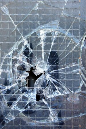 Broken window surface detail. Abstract glass background texture. Stock Photo - 3469194