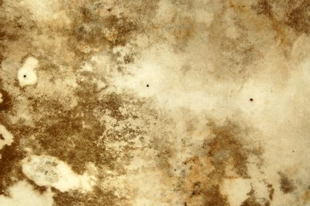 Water stains and mold growth on the ceiling of an abandoned . photo