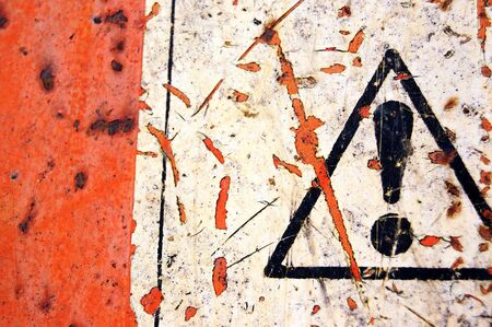 Rusty metal surface and weathered warning sign background. Stock Photo - 3834989