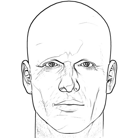 Black and white male figure sketch. Computer rendered illustration.