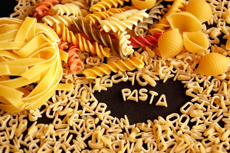 Various kinds of pasta. Italian food background. Stock Photo - 4164011