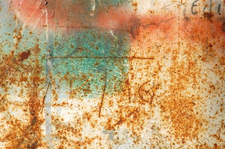 corroding: Rusty metal surface with peeled paint and etched numbers. Abstract grunge background.