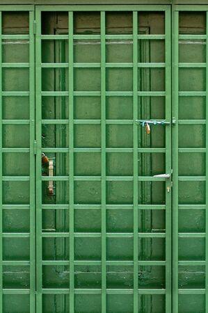 Wooden green door and protective metal frame. Stock Photo - 4911205