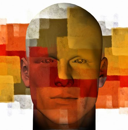 Male portrait and abstract geometric pattern. 3d digitally created illustration.