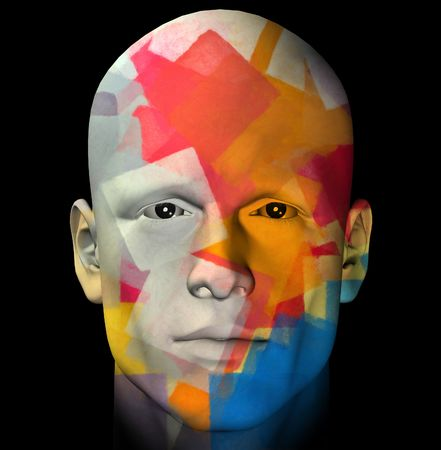 Male portrait and colorful geometric pattern. 3d computer generated illustration. Stock Photo