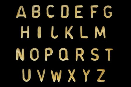 Alphabet soup pasta font. Typographic characters made from kids food.