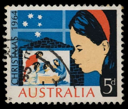 philatelic: Vintage cancelled postage stamp with christmas nativity illustration. Australia, 1964.