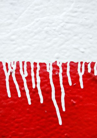 Wall with white dripping paint running over red background. Abstract texture. photo