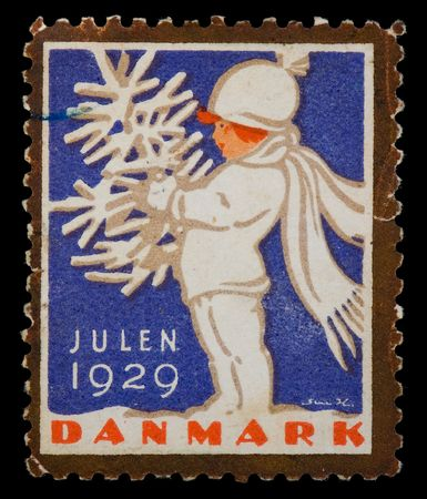 postal office: Vintage cancelled postage stamp with Christmas illustration. Denmark, 1929.