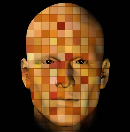 Male portrait with colorful squares pattern. 3d digitally created illustration. Stock Illustration - 5768260