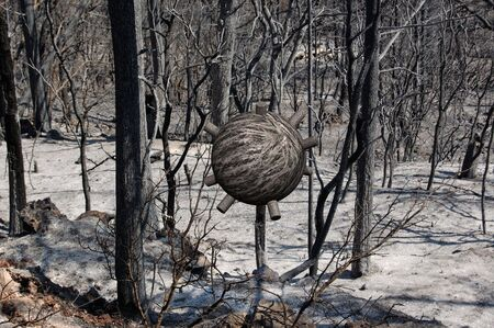 Abstract 3d sphere object growing in a burned forest. Futuristic illustration. illustration