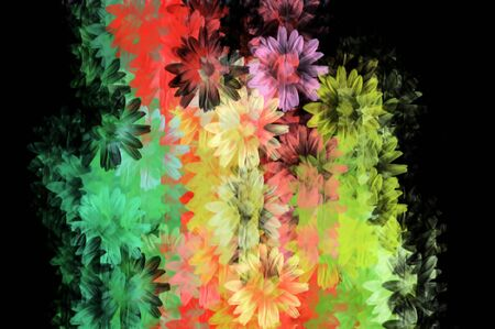 smeared: Colorful daisies grunge floral pattern. Digitally created background illustration. Stock Photo